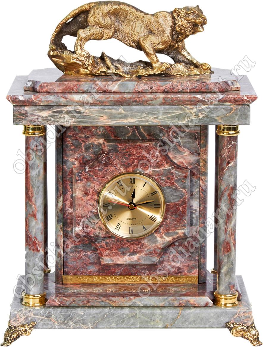 Малые сейф-часы «Тигр» из мрамора с бронзовой статуэткой ягуара