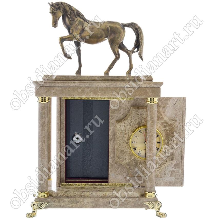 Винтажные часы с сейфом «Конек» из мрамора со скульптурой коня из бронзы