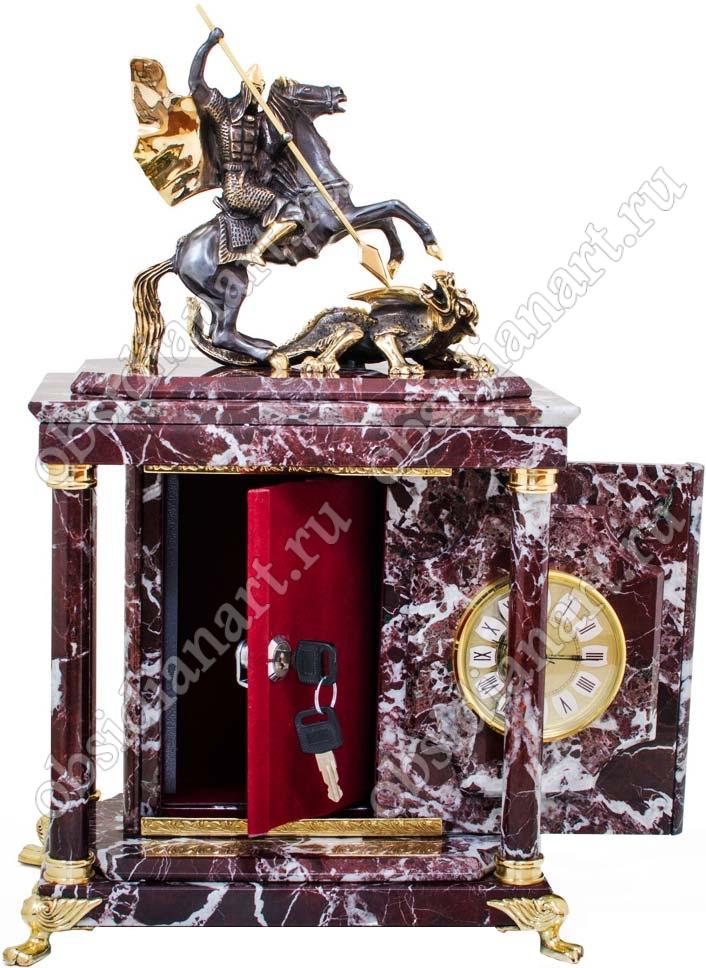 Каминные часы из яшмы «Змееборец» с сейфом и бронзовым Георгием Победоносцем