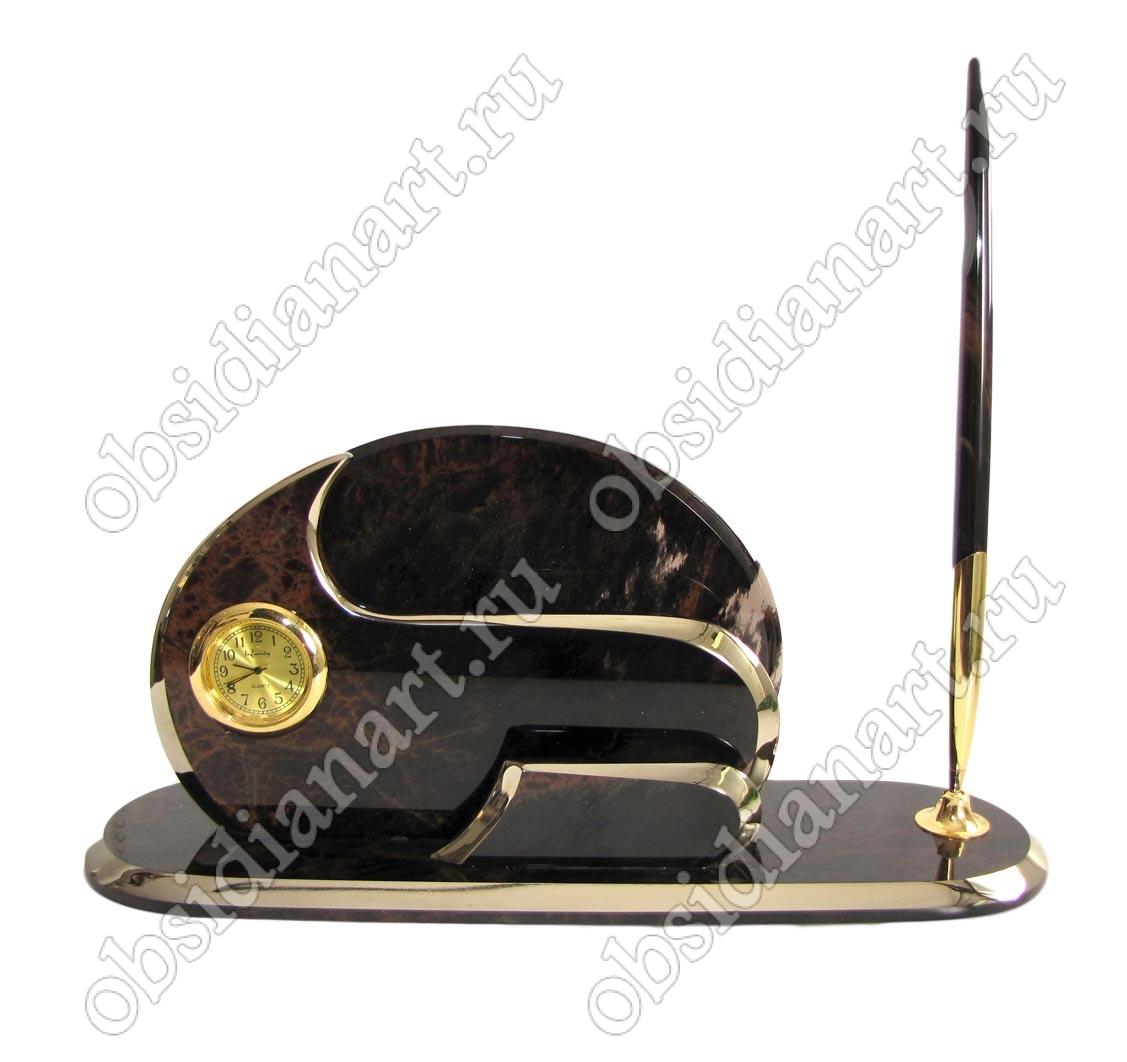 Мини набор «Золотой» из обсидиана с золотой отделкой