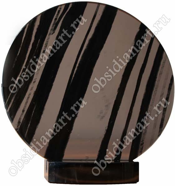 Зеркало из черного прозрачного обсидиана на подставке из обсидиана, диаметр 18 см