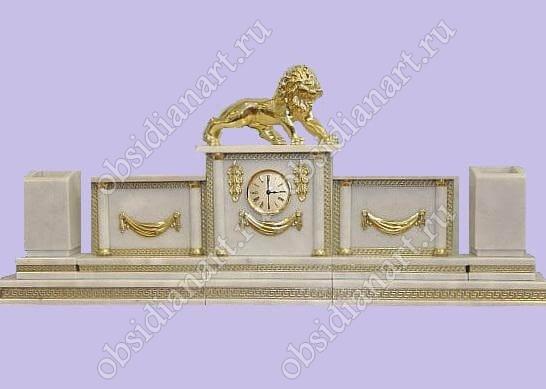 Настольные наборы из белого мрамора  «Гармония» с фигуркой льва