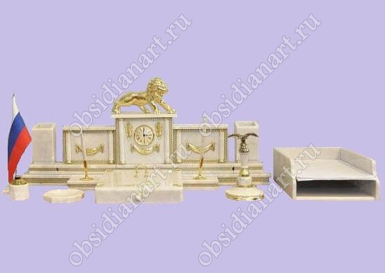 Письменный набор из белого мрамора «Кремлевский» с фигуркой льва