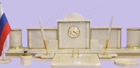 Настольные наборы из белого камня (мрамор) «Изящный»