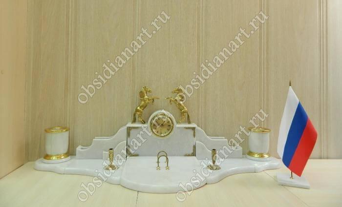 Настольный набор из белого мрамора с лошадками «Крым»