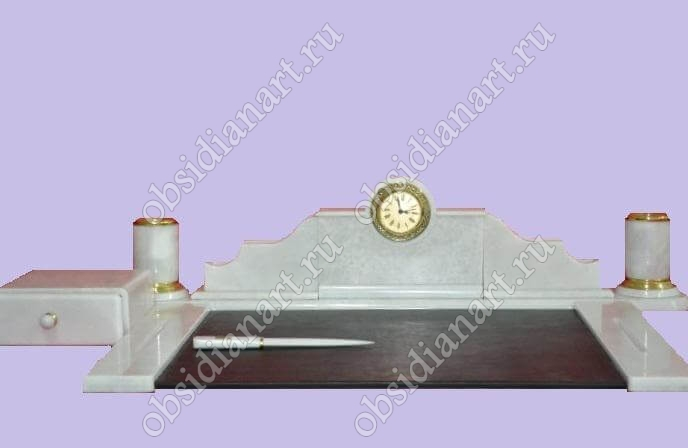 Настольные наборы из белого мрамора «Переговорный» с подложкой