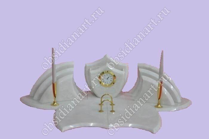 Настольные наборы «Скромный» из камня (белый мрамор)