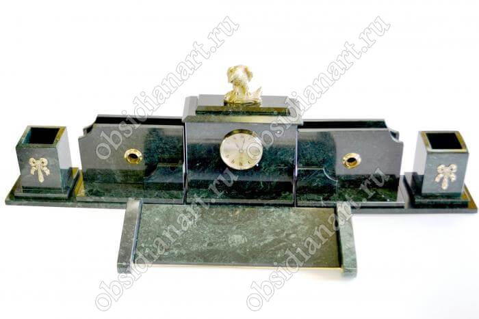 Настольный набор с часами из зеленого мрамора «Каминный»