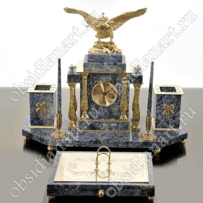 Настольный набор из синего гранита с бронзовой статуэткой двуглавого орла