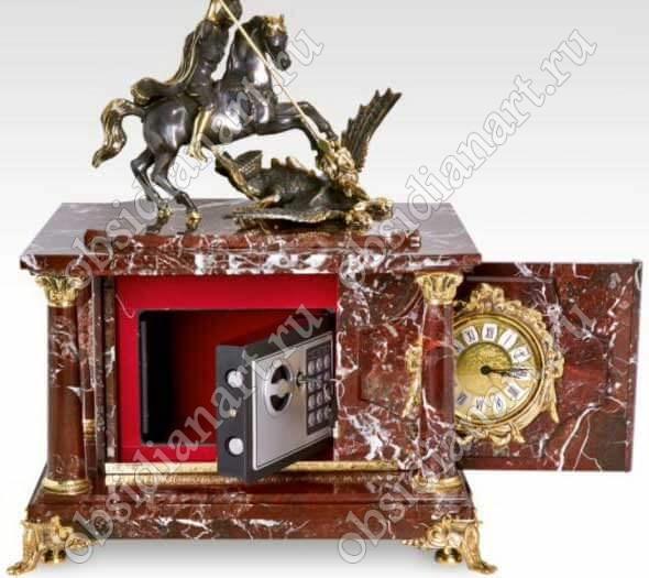 Часы-сейф «Георгий Победоносец» из яшмы