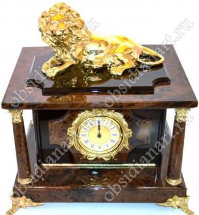 Настольный сейф «Питер» из обсидиана с фигуркой льва