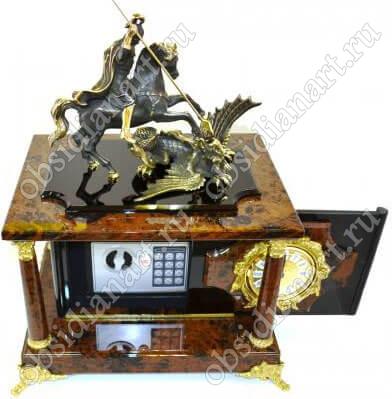 Часы-сейф «Русь» из обсидиана со статуэткой Георгия Победоносца