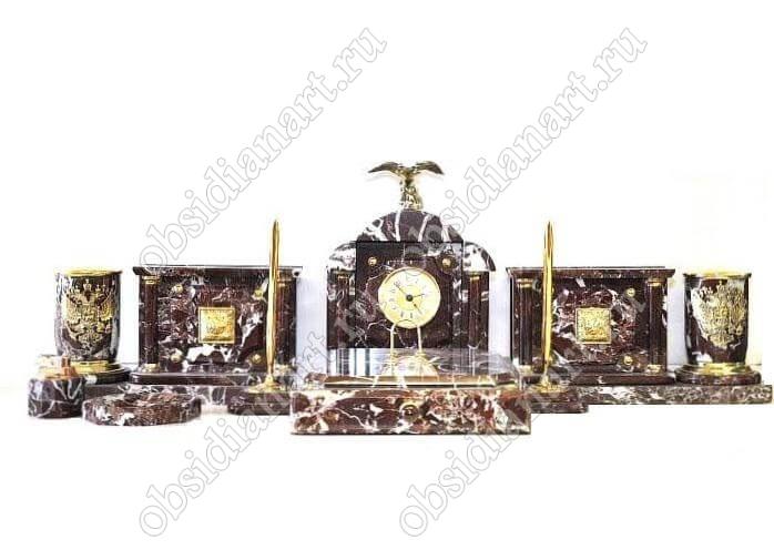 Письменные наборы из яшмы «Краснодар» с фигуркой орла из бронзы