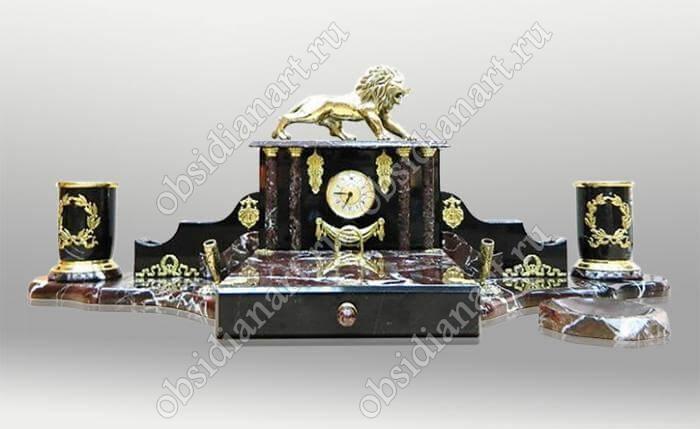Настольный набор из яшмы «Тольятти» с фигуркой льва