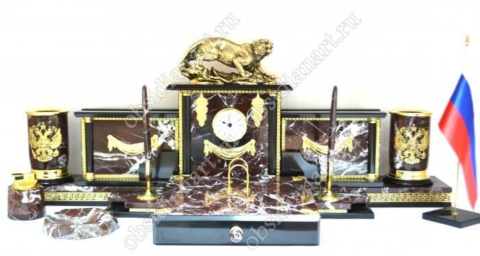 Настольный письменный набор из яшмы «Версаче» с бронзовой фигуркой тигра