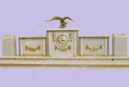 Настольные наборы из белого мрамора «Гармония» с фигуркой орла из бронзы