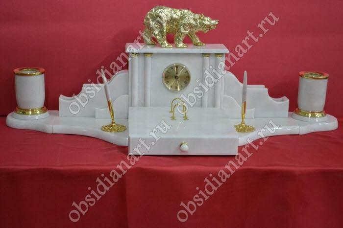 Настольный набор в подарок «Полярник», белый мрамор