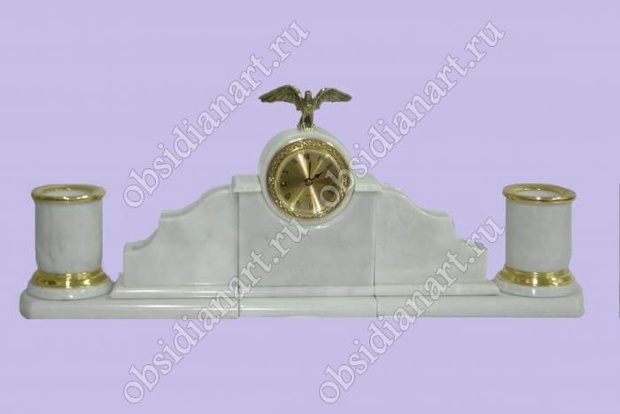 Настольный набор из белого мрамора «Минимал» с часами