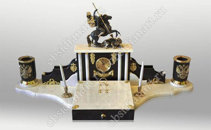 Подарочный настольный набор из мрамора «Контраст»