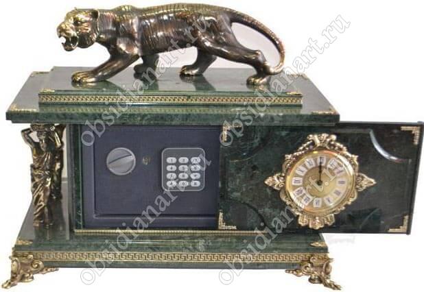 Сейф-часы «Тигр» из мрамора с бронзовой фигуркой тигра