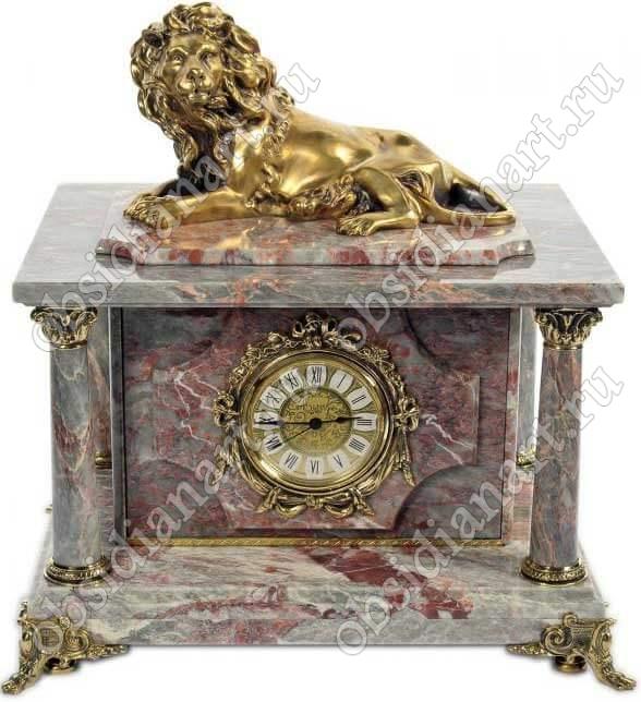 Сейф-часы «Царь» из мрамора серо-красного цвета