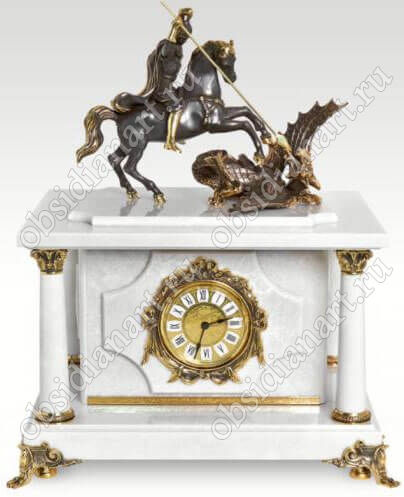 «Царский», Секретные сейф-часы из белого мрамора со статуэткой Георгия Победоносца из бронзы