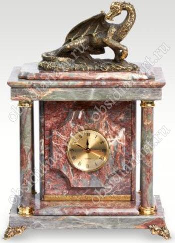 Настольные малые часы-сейф «Дракон» из яшмы с бронзовым драконом