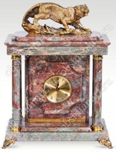 Малые сейф-часы «Ягуар» из яшмы с бронзовой статуэткой ягуара