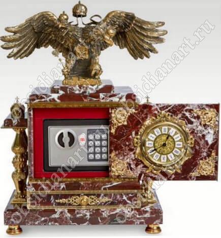 «Русь», Сейф встроенный в часы из камня со шкатулкой и бронзовым двуглавым орлом