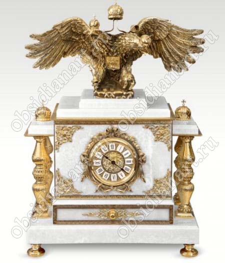 Часы-сейф «Царский» со шкатулкой. Мрамор