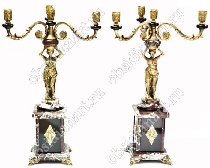 Подсвечники из яшмы и бронзы «Греческий»