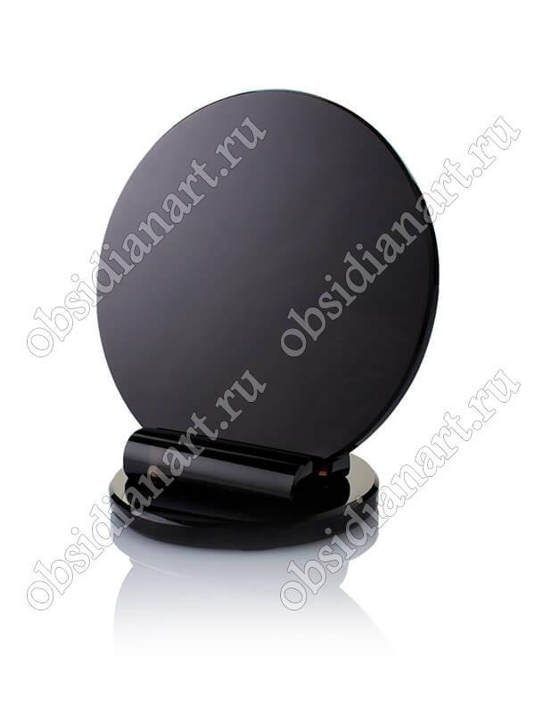 Зеркало из обсидиана круглое на подставке