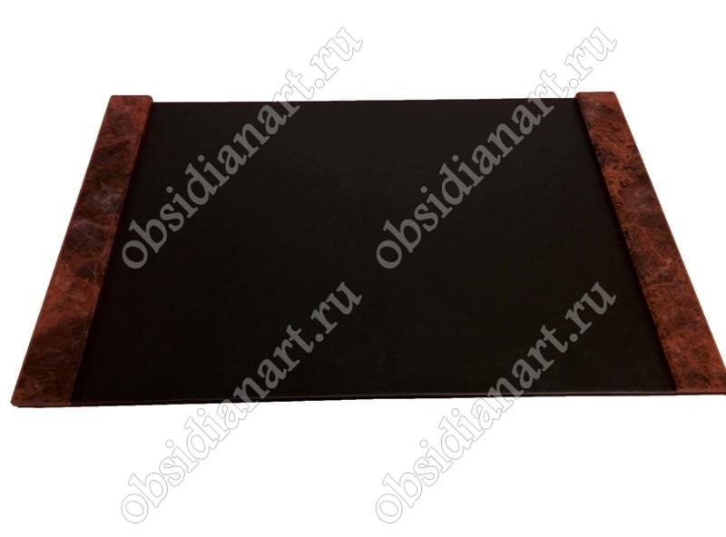 Накладка (подложка, коврик) на стол руководителя из кожи и камня. Отправка в любой регион России!