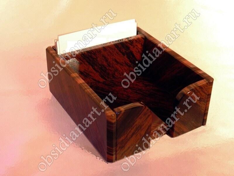 Кубарик (Лоток для бумаг) «Оператор» из натурального камня Обсидиан