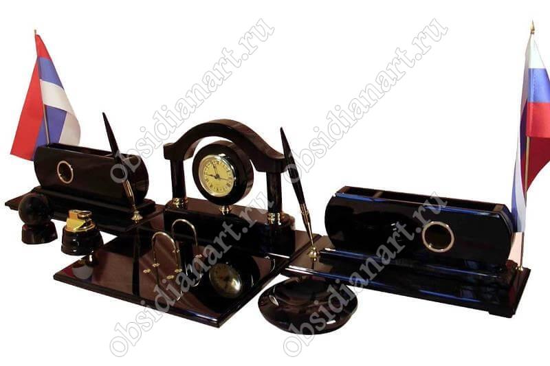 Настольный набор из обсидиана «Элегант» с комплектацией
