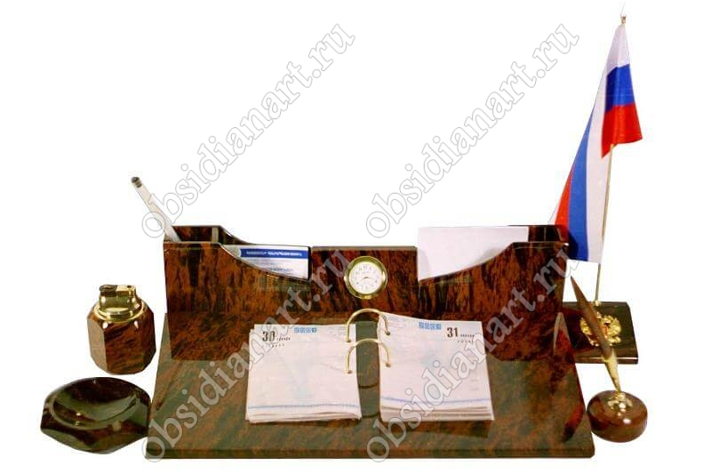 Настольный набор «Дипломат» из натурального камня обсидиант