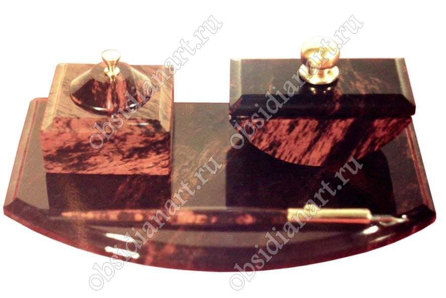 Набор «Чернильный» (Пресс-папье, чернильная ручка и чернильница) из полудрагоценного камня