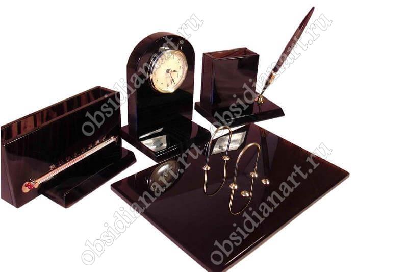 Настольный набор с термометром «Триумф» для письменного стола. Обсидиан