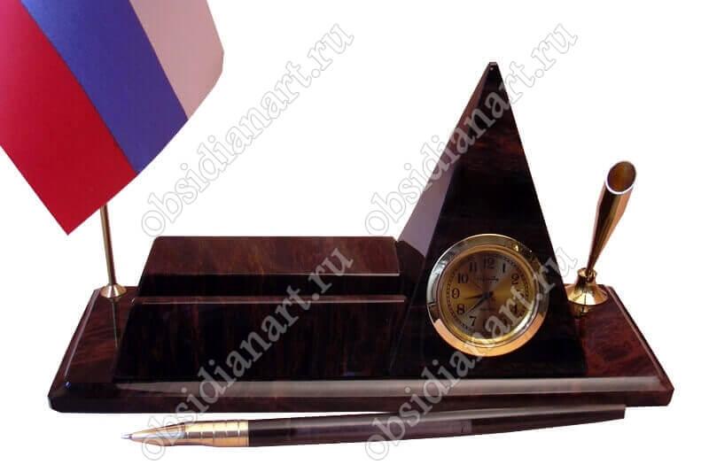 Письменный набор «Пирамида» из обсидиана