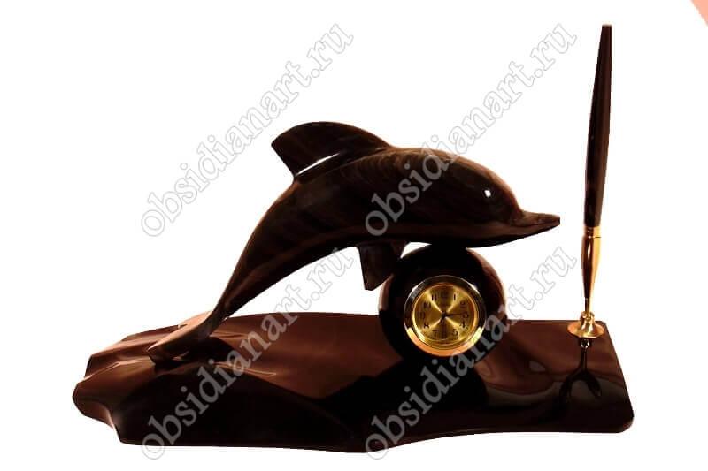 Настольный набор «Дельфин» с ручкой из обсидиана