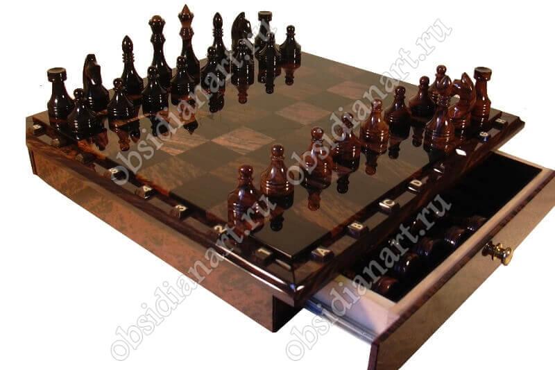 Подарочные шахматы «H8 средние» из обсидиана