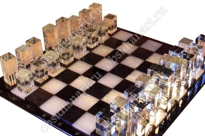 Шахматы «Кварц» из натуральных камней