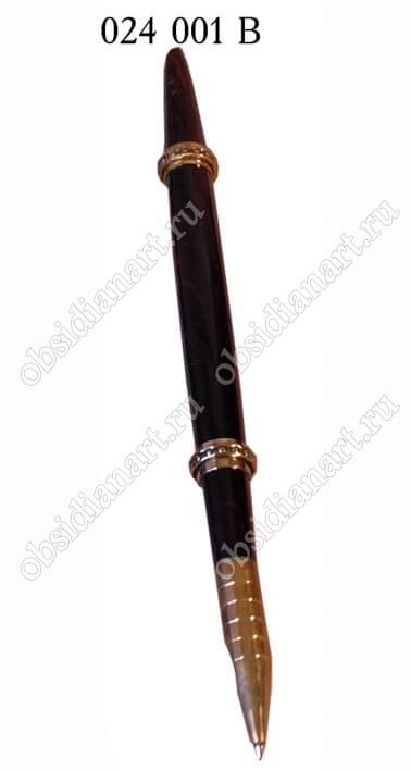 Красивая каменная ручка «Традиционная с бронзой» (обсидиан)