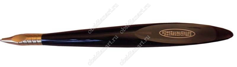 Ручка из камня с нанесением «Азбука» (обсидиан)