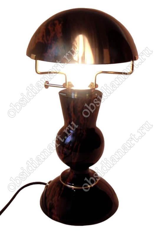 Настольная лампа «Грибок» из обсидиана