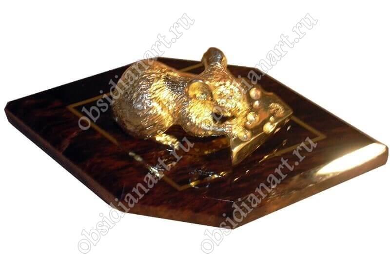 Скульптура «Мышь» обсидиан и бронза