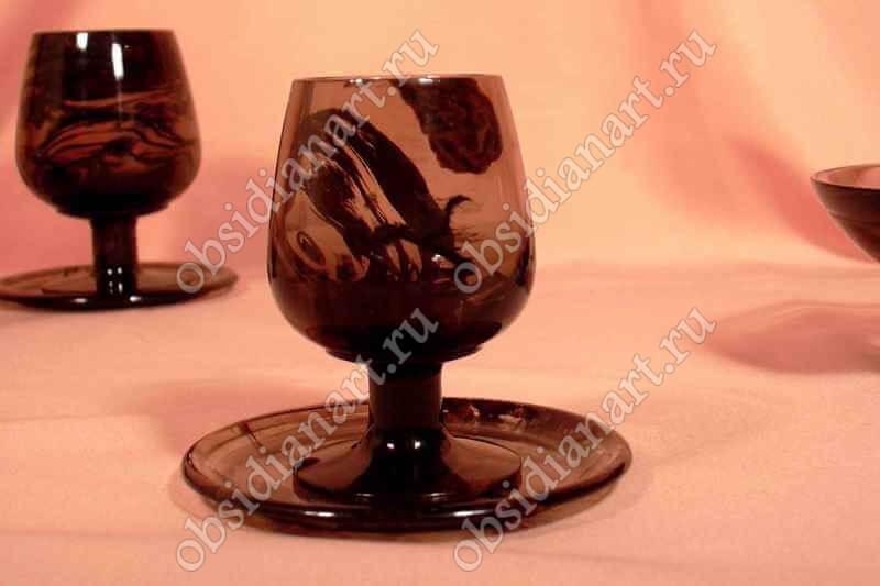Бокал «Коньяк» из полудрагоценного камня обсидиан