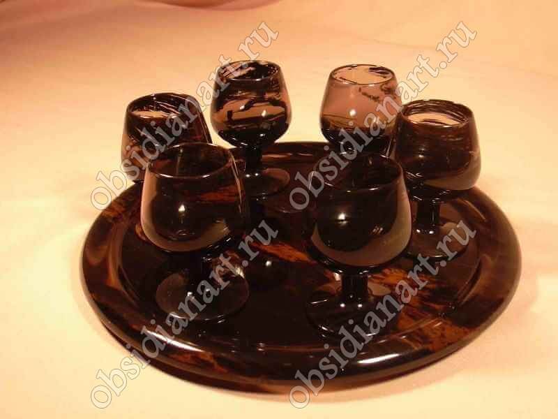 Рюмка «Водка» из полудрагоценного камня обсидиан