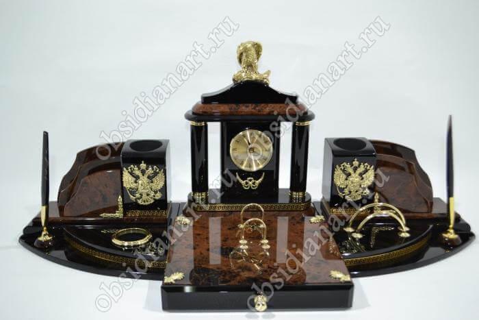Настольный набор руководителя «Новосибирск» с орлом из бронзы