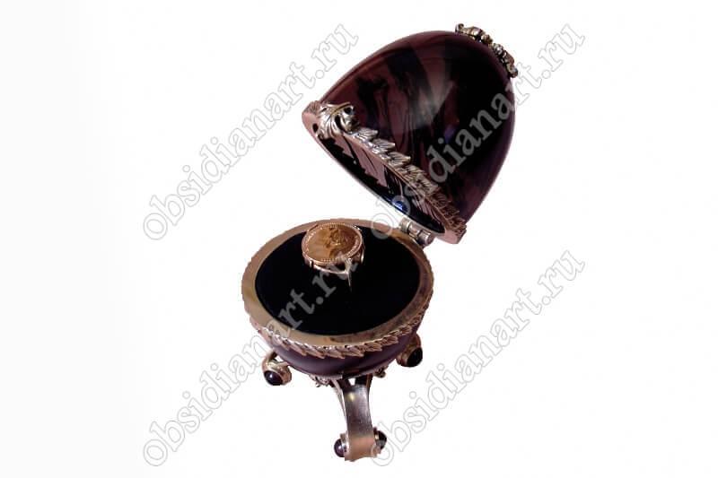 Шкатулка «Соло ковчег» (яйцо) из обсидиана